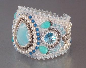 Free Shipping , Bead Embroidery, Bracelet, Statement cuff, Seed bead bracelet, Silver, Blue, White, Larimar gemstone,