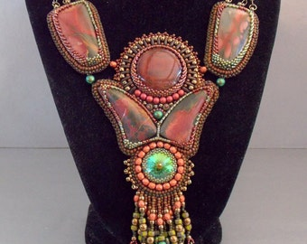 Free Shipping, Bead Embroidery,  Statement necklace, Unique Fashion,Red tiger eye gemstone, Picasso jasper, Swarovski,