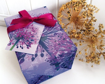 Purple Allium Gift Wrapping Paper Set - gifts for gardeners