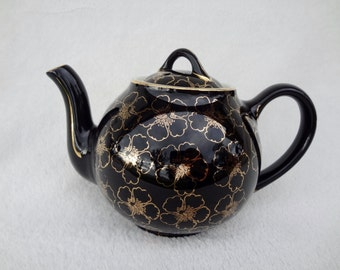 Vintage Hall China Black and Gold Floral Teapot