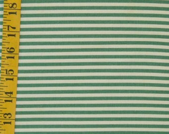 Green & Ivory Stripes Fabric 100% Cotton Quilting 1/2 yd