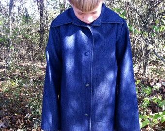 Retro Amish Jacket, Blue Denim Boys Coat - Vintage Handmade Young Man's Hipster Outerwear, Young Man's Jacket in Dark Blue, Button Up Coats