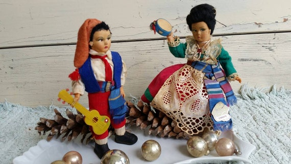 Retro Felt Magis Doll Set From Italy - Collectible Authentic Roma Souvenir Collectibles, Regional Folk Art Doll, Vacation to Roma Italy