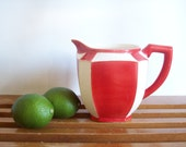 RESERVED  Art Deco Red and White Pitcher, Made in Czechoslovakia, Vintage Porcelain
