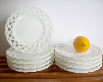 Westmoreland Milk Glass Plates, Lace Edge, Forget Me Not Reticulated Openwork Border, Set of 9, Cottage Chic, Farmhouse Chic, Salad Plates