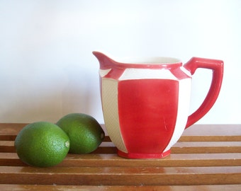 Art Deco Red and White Pitcher, Made in Czechoslovakia, Vintage Porcelain