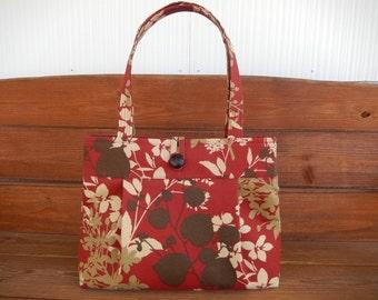 Handbag Purse Fabric Handbag Accessories Women Handbag Pleated Bag Large Shoulder Bag Dark Red with Brown and Beige Flower Print