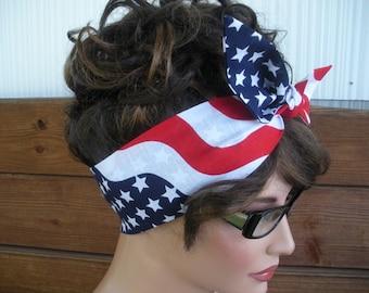 American Flag Headband 4th of July Headband Accessories Women Head Scarf Tie Up Headband Bandana - Ready to ship