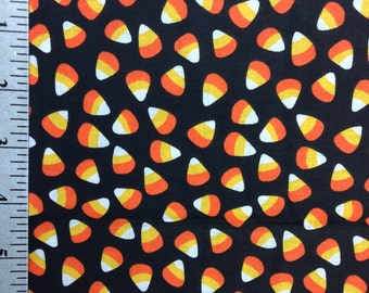 Candy Corn Fabric by the yard,  Orange and Black, Halloween Fabric, 100% cotton