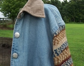 Denim Barn Coat Sweater Sleeves Women's Size Large Bust 42, Yarn in Blue and Earth Tone Stripes, Upcycled Denim for Fall, Hand Knit Sleeves