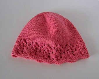 Chemo Hat Cotton Sleep Cap for Child or Teen, Hand Knit in Peach soft yarn with lace edge accent, ready to ship