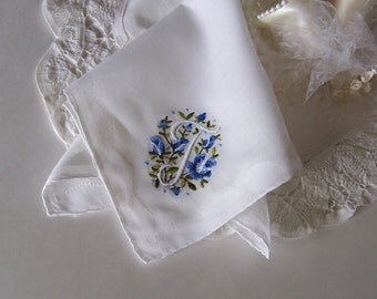 Wedding Handkerchief Monogrammed T, Bride's Something Old Something Blue on True White with Blue Embroidered Roses, Wedding Shower Gift