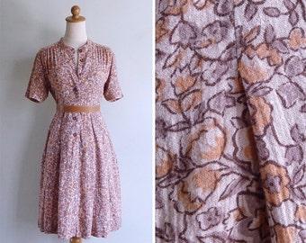 20% CNY SALE - Vintage 80's Boho Peach Woodblock Floral Print Mandarin Collar Dress S or M