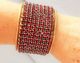 SALE Large Red Rhinestone Copper Cuff Bracelet. Each of 240 Red Rhinestone are Prong Set Permanently Glued to Large Copper Cuff. Only 19.90