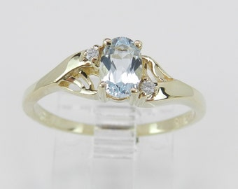 Aquamarine and Diamond Engagement Ring Aqua Promise Ring 14K Yellow Gold Size 7 March Birthstone