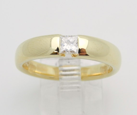 Princess Cut Diamond Solitaire Wedding Anniversary Ring 18K Yellow Gold Size 7.75