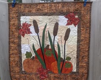Autumn Wall Quilt, Autumn Quilt,  Pumpkin Fall Quilt 0420-07