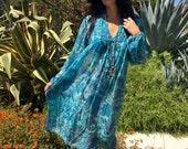 Vintage Indian Dress//Gauzy Boho Dress//Indian Dress Circa 1970s