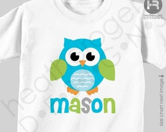 Owl Shirt or Bodysuit (Blue, Lime Green, Gray) - Makes a great Personalized Birthday Shirt