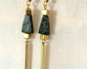 Natural Russian Serpentine & Brass earrings. 24K gold plated earwire