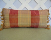 Silk Look Pillow in Gold and Orange / Gold Orange Pillow / Faux Silk Pillow / Decorative Pillow / Handmade Pillow / Accent Pillow