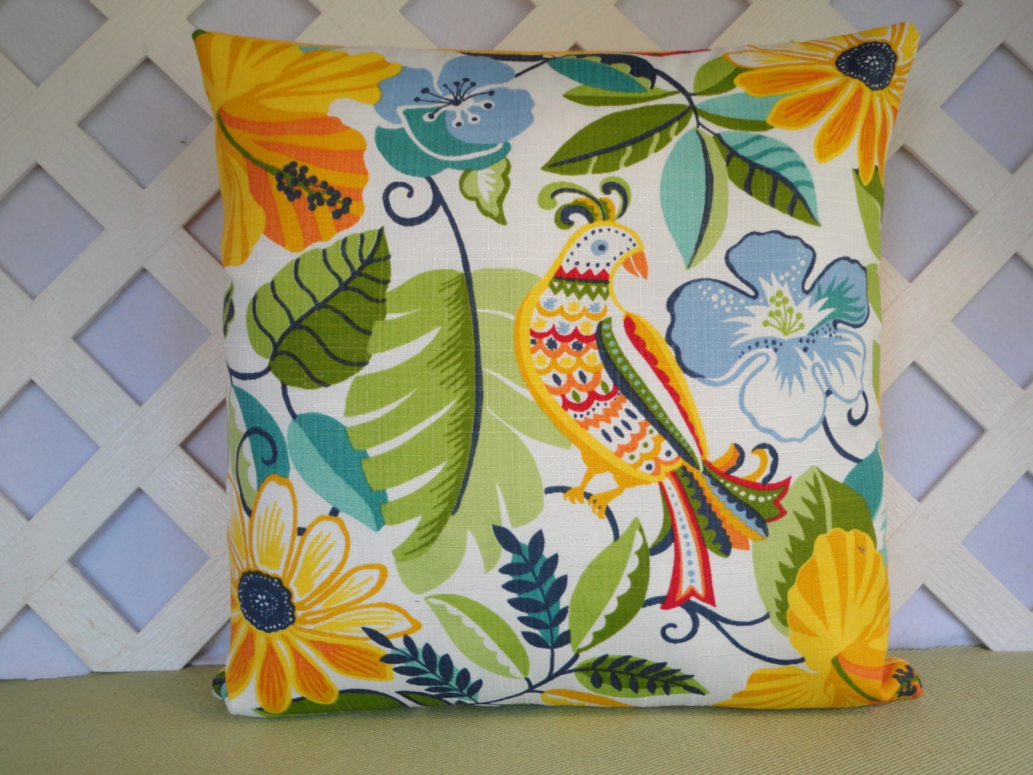 Floral And Bird Outdoor Pillow Cover In Yellow Blue Green