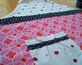 Girl Childs Apron - Ladybugs - Pink, Red & Black - Gift for Little Girls - Baking Gift