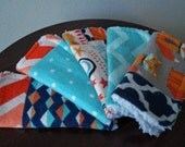 Baby Washcloths - Boy Washcloths - Hipster Fox - Chevron - Blue and Orange - Cute Baby Gift