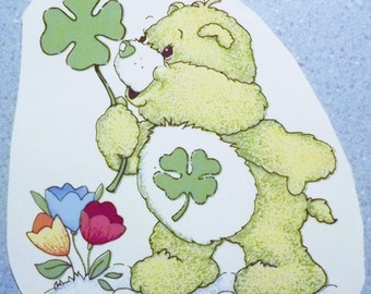 Cute Vintage Water Mount Decal - Lucky or Good Luck Care Bear- 1 only Large size