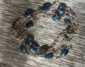 Kyanite Gemstone and Sterling Silver Chain Necklace - Wire Wrapped Long - Bali Beads Antique - Drawn Cable Chain