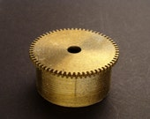 Large Brass Cylinder Gear, Mainspring Barrel from Vintage Clock Movement, Vintage Clockwork Mechanism Parts, Steampunk Art Supplies 03880