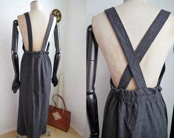 Vintage 90s Suspender Dress Grey MAXI wool Skirt dress / M / pinafore dress / Jumper maxi overalldress