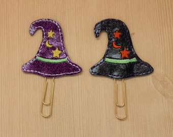 Witch hat glitter vinyl planner paperclip, bookmark, Halloween glitter vinyl paperclip, Choice of witch hat paperclip accessories