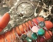 Silver Cabochon Bangle Bracelets