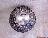 Antique Sterling Edwardian Ornate Repousse'  Monogram F  Dresser Jar Jar As Is
