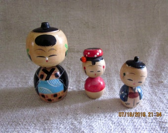 Vintage Kokeshi Family Dad, Mom and Boy Doll
