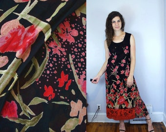 1990s Vintage Black Pink & Red Floral Flower Print Pattern Sleeveless Gauzy Sheer Layered Maxi Dress / Grunge Blossom 90s Dress / Medium M 8