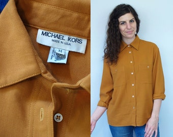1970s 1980s Vintage MICHAEL KORS Long Sleeve Button-Down Collared Oxford Blouse / Designer Wool Gold Marigold Mustard Gold Dress Shirt / M L