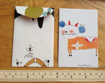 Mini Handmade Envelopes  - set of 25  (mini size 7 x 11 cm.or 2 7/8 X 4 1/4 inch)