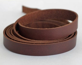 15 mm  Brown   Flat cord ,Solid Genuine Leather Strap, Cowhide