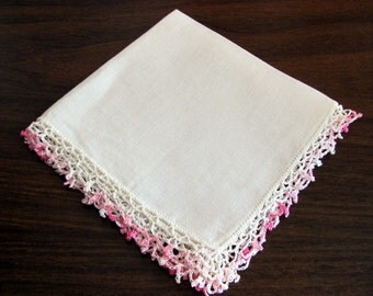 Ladies Hankie with Pink Crocheted Trimmed Edge