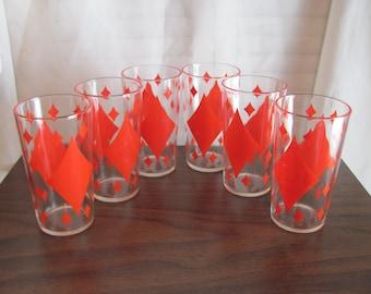 Retro Drinking Glasses / Red Diamond Pattern Retro Glasses 12 oz.