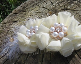 White/ivory bridal hair accessory, feather and diamante,wedding, luxury,bridesmaid,bride,flowergirl, birthday, special occasion, party, gift