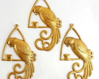 Vintage Brass Birds, Bird Stampings, Brass Macaw Parrot, Jewelry Making, Gingerbread Brass, Patina Brass, Bsue, 79 x 45mm, Item06889