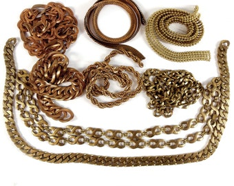 Assorted Vintage Chain, Jewelry Chain, Textured Curb Chain, Rope Chain, Jewelry Making, Patina Brass, B'sue, 9 - 23.5 Inch Lengths,Item08235