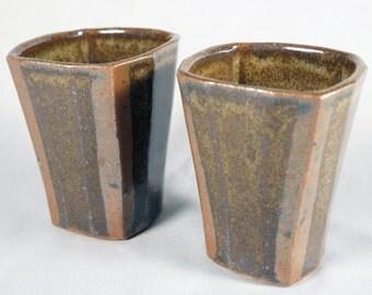 Jeff Oestreich, Vintage Studio Pottery, Pair of Chawan, Cups, Mingei, MacKenzie School