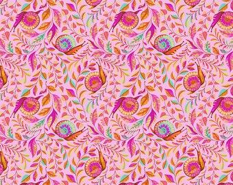 Tula Pink Slow and Steady - Orange Crush Snails Yardage