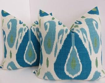 Aqua Cream Blue Pillow Cover- Aqua Pillow cover- Blue Pillow Cover- Accent Bed - Accent Home Pillows- Decorative Pillows- Aqua Blue Cream
