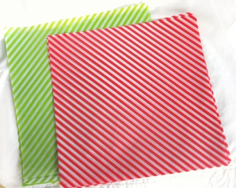 12 Red and Green Stripe WAX PAPER sheets-Pink Lemonade party shop EXCLUSIVE-basket liners-food safe
