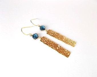Christmas in July Sale, Sapphire Earrings, Something Blue Gift, Geometric Jewelry, Long Gold Dangle Earrings
